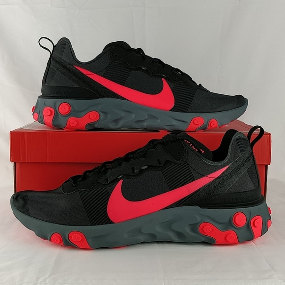 02e3c8410586 Nike React Element 55 Black Solar Red BQ6166-002